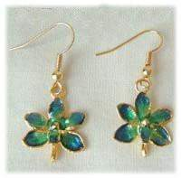 Emerald Orchid Earrings with 24k Gold - Roses And Teacups
