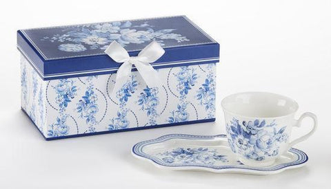 English Blue Tea or Coffee Snack Set in Gift Box - 1 Left!-Roses And Teacups