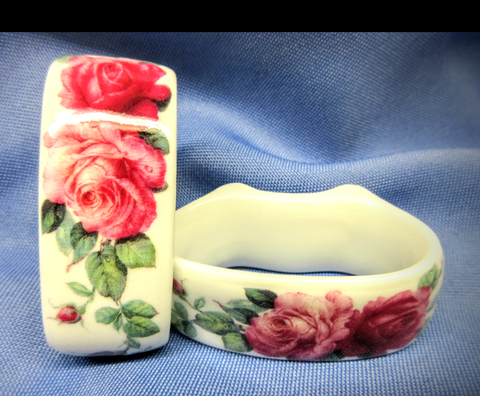 English Rose Bone China Napkin Rings Made in England Set of 6-Roses And Teacups