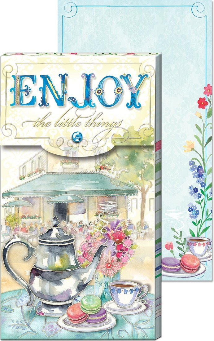 Enjoy Tea Inspirational Large Pocket Notepad - Roses And Teacups