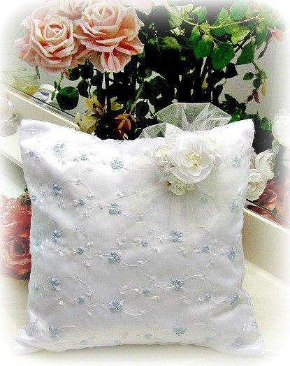 Everyday Romance Baby Blue Silk Organza Pillow - Roses And Teacups