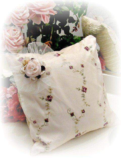 Everyday Romance Burgandy Silk Organza Pillow - Roses And Teacups