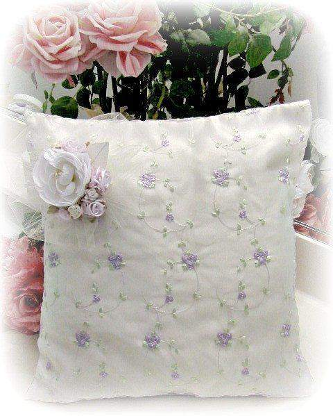 Everyday Romance Lavender Silk Organza Pillow - Roses And Teacups
