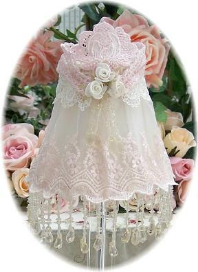 Everyday Romance Pink Beaded Lampshade - Roses And Teacups