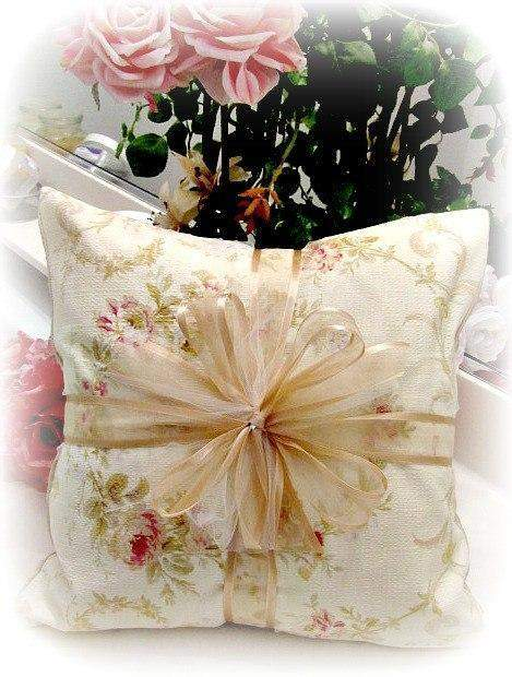 Everyday Romance Victorian Wreath Barkcloth Pillow - Roses And Teacups