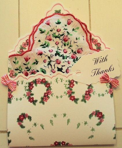 F1579 With Thanks Hankie Folio - Roses And Teacups