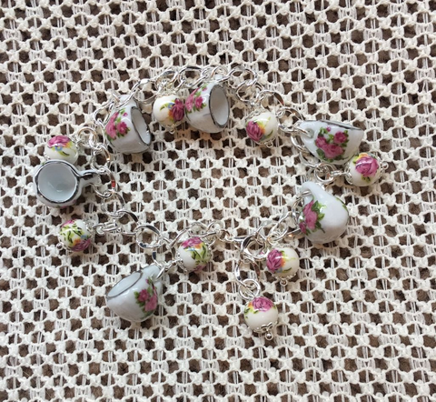 Fairy Tale Rose Bead and Tea Cup Bracelet - Roses And Teacups