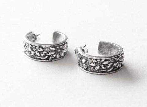 Faith Silver Spoon Hoop Earrings - Roses And Teacups