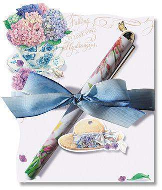 Falling in Love with Hydrangeas Die Cut Notepad and Pen - Very Limited Supply!-Roses And Teacups