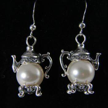 Faux Pearl Silver Teapot Earrings - Roses And Teacups