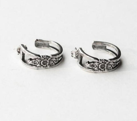 Faye Silver Spoon Hoop Earrings - Roses And Teacups