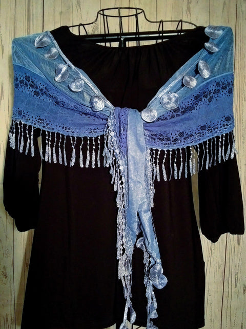 Feminine Teardrop Tassel Lace and Crochet Scarf - Blue- Only 1 Available! - Roses And Teacups