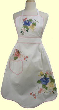 Floral Applique Cotton White Apron - Only 2 Available!-Roses And Teacups