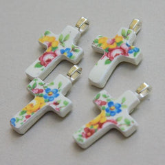 Floral China Cross Pendant  ONLY 4 AVAILABLE - Roses And Teacups