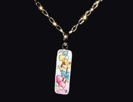 Floral Chintz Gold Plate China Pendant Necklace - Roses And Teacups