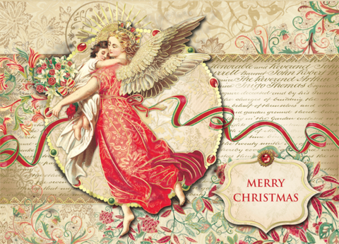 Florentine Angel Dimensional Christmas Holiday Greeting Cards Set of 12 - Roses And Teacups
