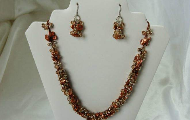 Flowering Rope Freshwater Pearl Necklace and Earring Set F103 - Roses And Teacups