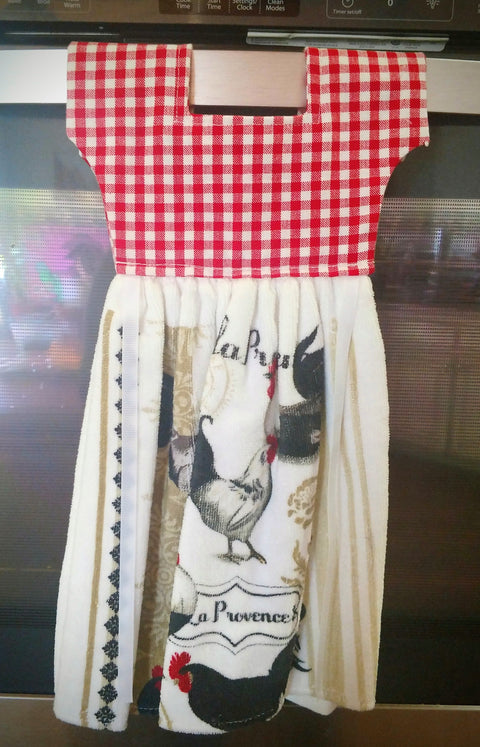 French Country Roosters Kitchen Oven  Dress Towel - Roses And Teacups