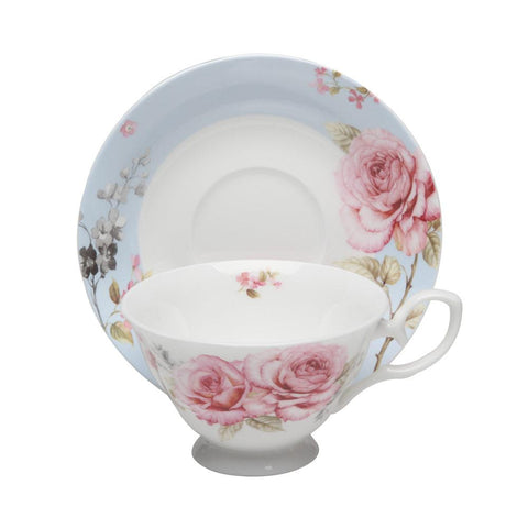 French Rose Fine Bone China Tea Cup (Teacup) and Saucer Set of 4 - Roses And Teacups