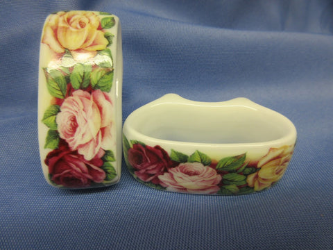 Garden Rose Bone China Napkin Rings Made in England Set of 6-Roses And Teacups