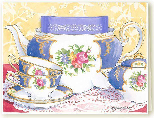 Getting Together Invitation Cards Roses And Teacups