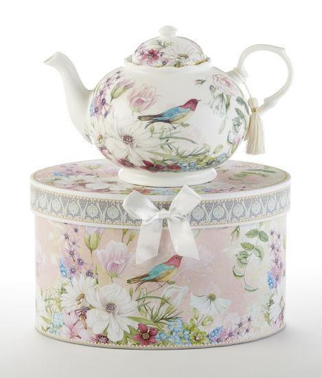 Gift Boxed Bird of Paradise Porcelain Teapot - Roses And Teacups