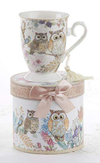 Gift Boxed Porcelain Mug with Tassel - Owls - Roses And Teacups