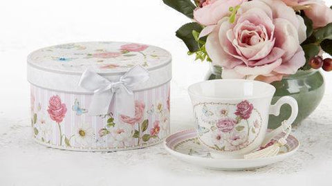 Gift Boxed Porcelain Tea Cup (Teacup)  & Saucer - Grace - Roses And Teacups