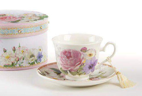 Gift Boxed Porcelain Tea Cup (Teacup) & Saucer - Pink Rose - Roses And Teacups