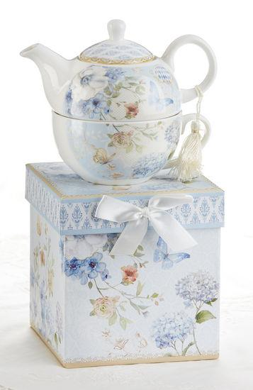 Gift Boxed Porcelain Tea For One - Butterfly - Roses And Teacups
