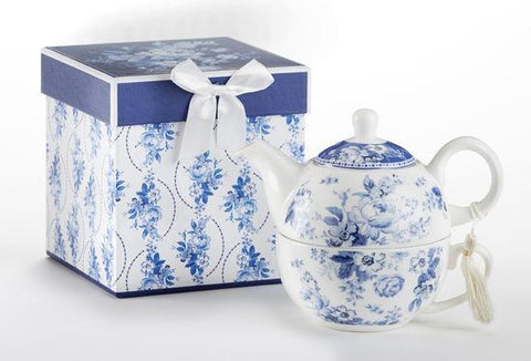 Gift Boxed Porcelain Tea For One - English Blue - Roses And Teacups