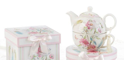 Gift Boxed Porcelain Tea For One - Feather and Floral - Roses And Teacups