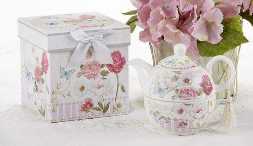 Gift Boxed Porcelain Tea For One - Grace - Roses And Teacups