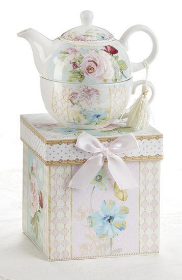 Gift Boxed Porcelain Tea For One - Green Pink Rose-Roses And Teacups