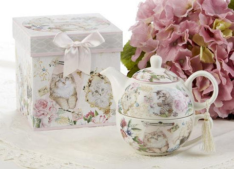 Gift Boxed Porcelain Tea For One - Kitty - Roses And Teacups