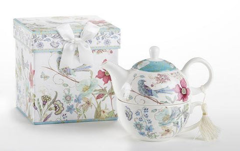 Gift Boxed Porcelain Tea For One - Partridge - Roses And Teacups