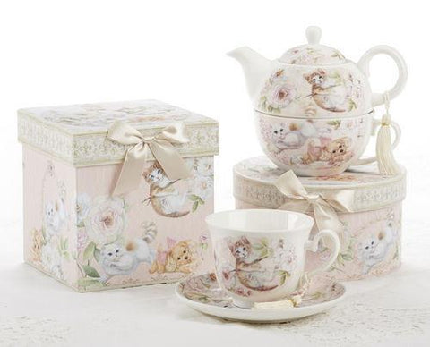 Gift Boxed Porcelain Tea For One - Playful Kittens - Roses And Teacups