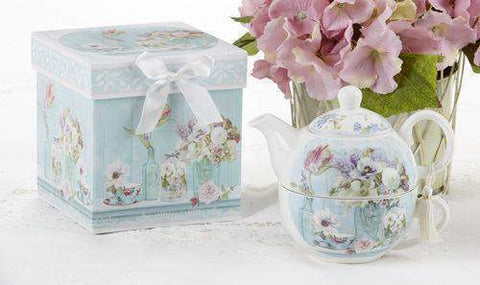 Gift Boxed Porcelain Tea For One - Tea Garden - Roses And Teacups