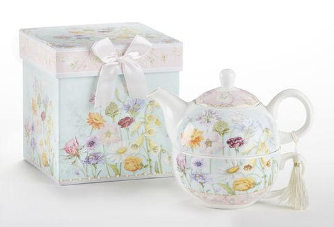 Gift Boxed Porcelain Tea For One - Wildflower-Roses And Teacups