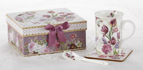 Gift Boxed Porcelain Tulip Mug Set  include Spoon and Coaster - Roses And Teacups