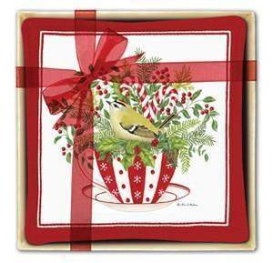 Gift Boxed Set of 4 Holiday Tea Cup Spiced Mug and Tea Cup Mats - Roses And Teacups