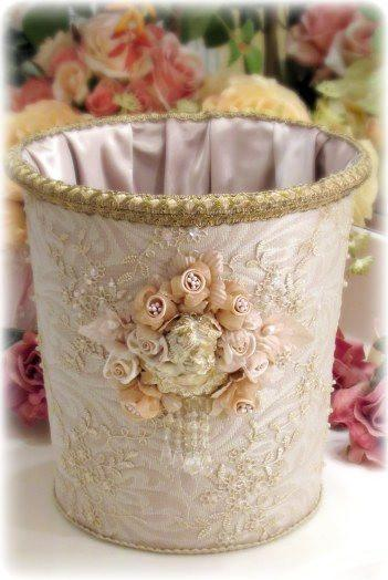 Gilded Opulence Towel and Magazine Basket - Roses And Teacups