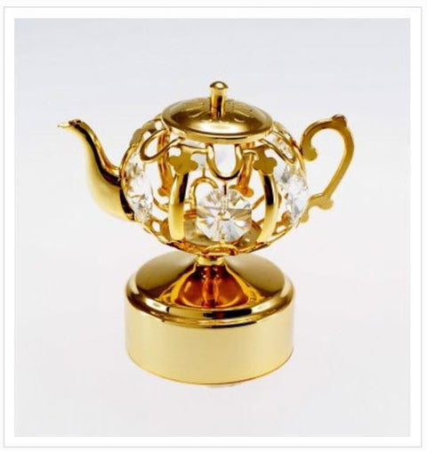 Gold and Crystal Teapot Music Box Let Me Call You Sweetheart - Roses And Teacups
