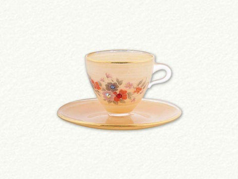 Gold Frosted Desert Crystal Chaton Tea Cup Ornament with Egyptian Asfour Crystal - Roses And Teacups