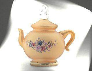 Gold Frosted Desert Crystal Chaton Teapot Ornament with Egyptian Asfour Crystal - Roses And Teacups