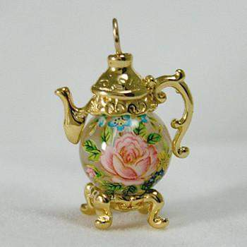 Gold Vermeille Rose on Clear Bead Teapot Earrings - Roses And Teacups