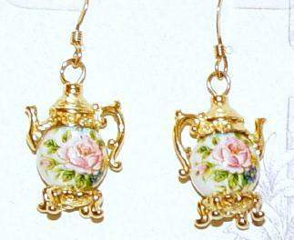 Gold Vermeille Rose on White Teapot Earrings - Roses And Teacups