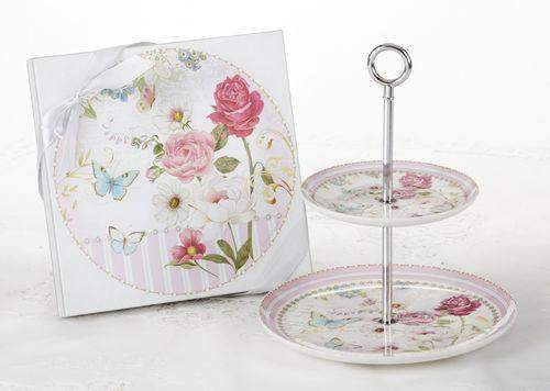 Grace 2 Tier Cake Stand - Gift Boxed - Roses And Teacups