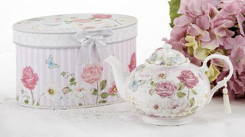 Grace Porcelain Teapot in Gift Box - Roses And Teacups