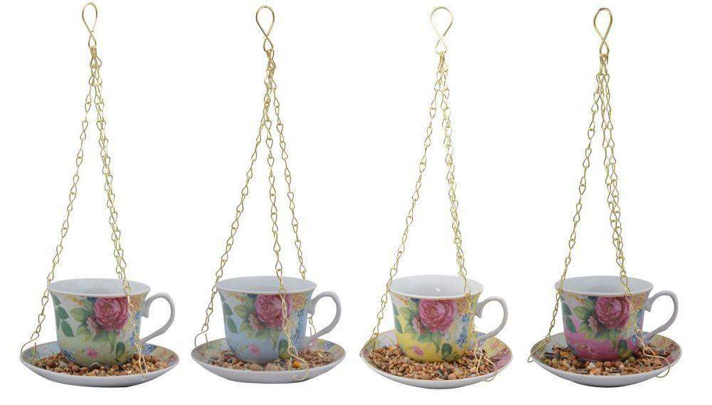 Hanging Tea Cup Feeder - Roses And Teacups